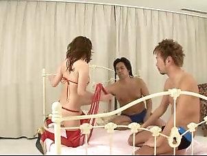 Asian;Group;Japanese;Facials,Asian;Brunette;Facial;Handjob;Japanese;Masturbation;Stockings;Threesome;Toys;Vaginal Masturbation;Vaginal Sex Aoi in red thigh...
