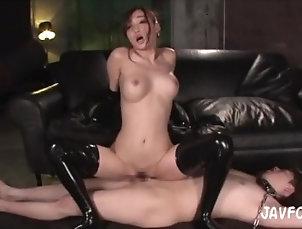 bdsm;kink;latex;sex;kurea;hasumi;femdom;japanese;boytoy;creampie;cowgirl,Asian;Bondage;Fetish;Japanese Kurea Fucks Slave...