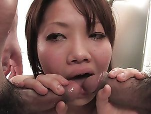 Tits;Group Sex;Japanese;Teens;Blowjobs;Brunettes;Creampie;Facials;HD Videos;During;Brunette Threesome;Young Threesome;Threesome;Young Young brunette...